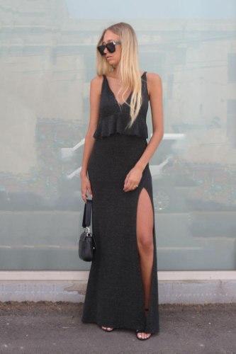 שמלת מקסי V מלמלות MAZIG