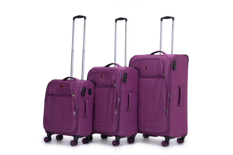 סט 3 מזוודות SWISS ALPS בד קלות וסופר איכותיות - צבע סגול