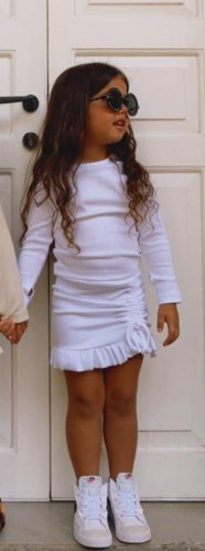 חליפת חצאית כיווצים לבנה  (2-16)