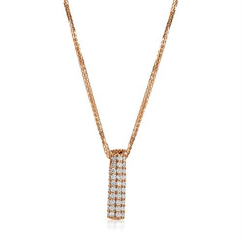 שרשרת יהלומים │ תליון צינור משובץ יהלומים │ שרשרת ותליון יהלומים
