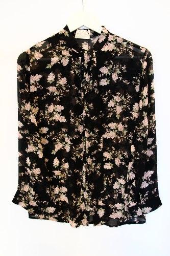 חולצת עניבה פרחים שחורה