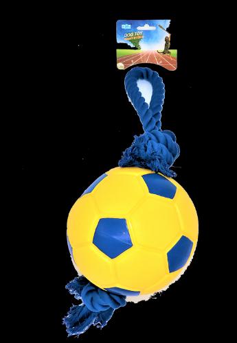 צעצוע לכלב כדורגל מצפצף עם חבל גדול