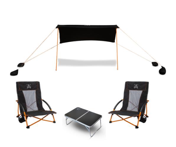 חבילת חוף - ציליית SHADE SIZE M + 2 כסאות WAVE V2.0 + שולחן MINI COFFEE