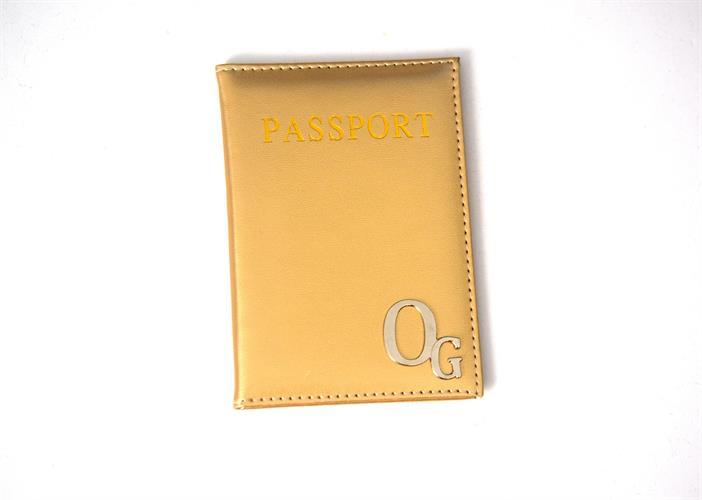 כיסוי לדרכון דמוי עור-זהב