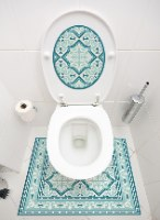 שטיחון ומדבקה לאסלה רחביה טורקיז דגם 203
