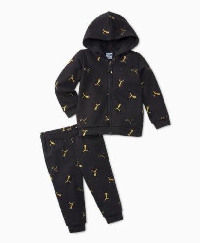 חליפת פוטר רוכסן קפוצון שחור לוגויים זהב  (3m-4y)