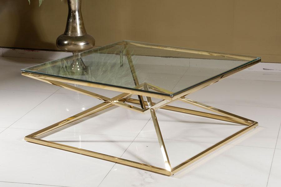 שולחן סלון גולד מידות 100X100X43