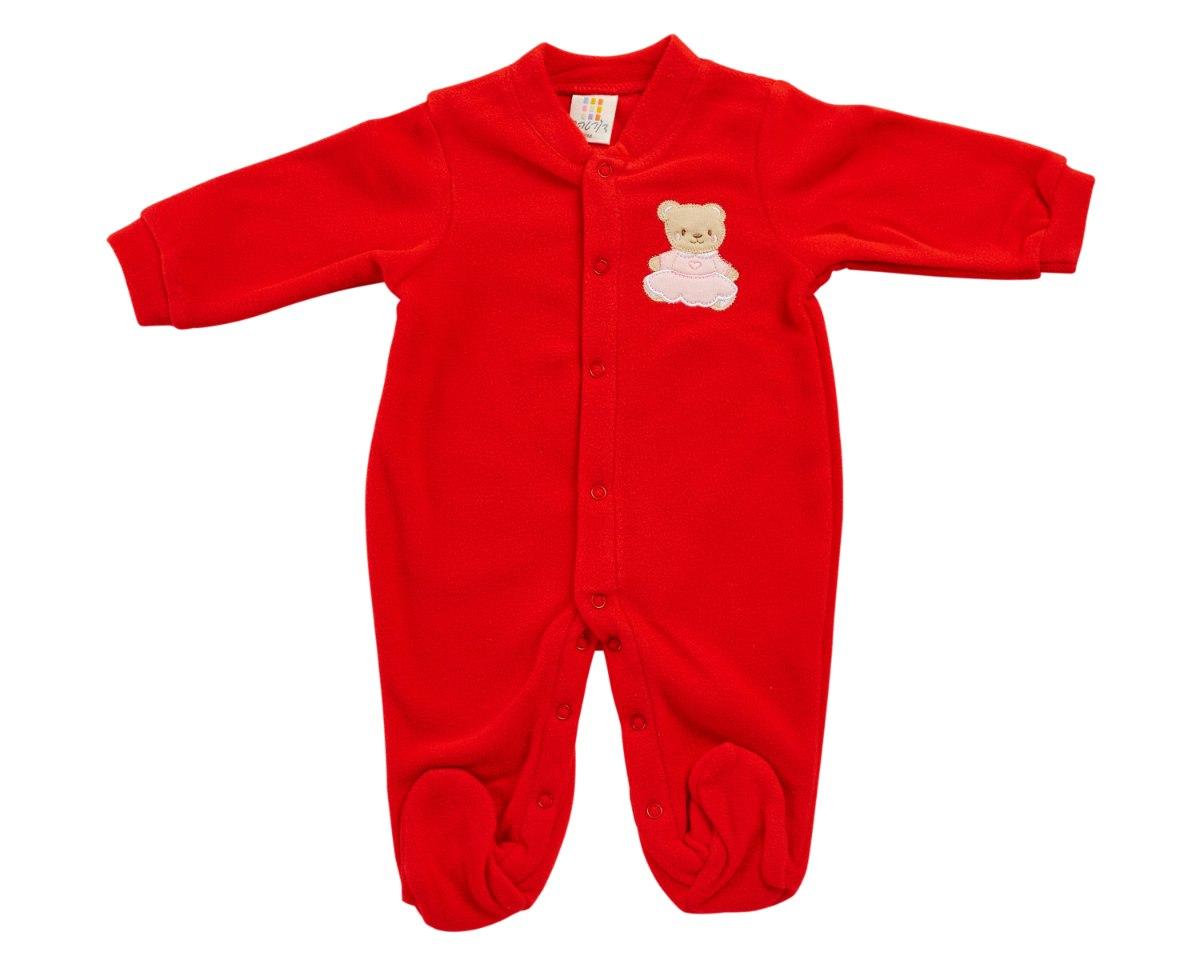 אוברול פליז דובה קטנה אדום