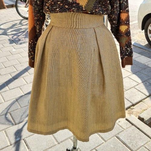 חצאית פשתן איטלקית מפוארת מידה S