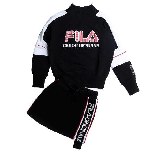 חליפת חצאית צווארון שחור/אדום FILA - מידות 8-16