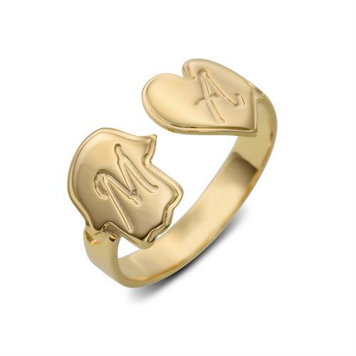 טבעת פתוחה עם חמסה ולב-כסף 925/גולדפילד