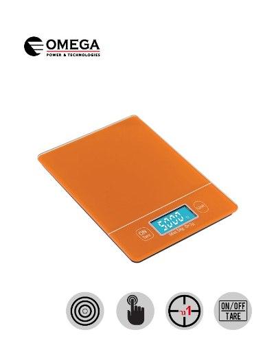 משקל מטבח עם מסך מגע מואר של חברת Omega בצבע כתום