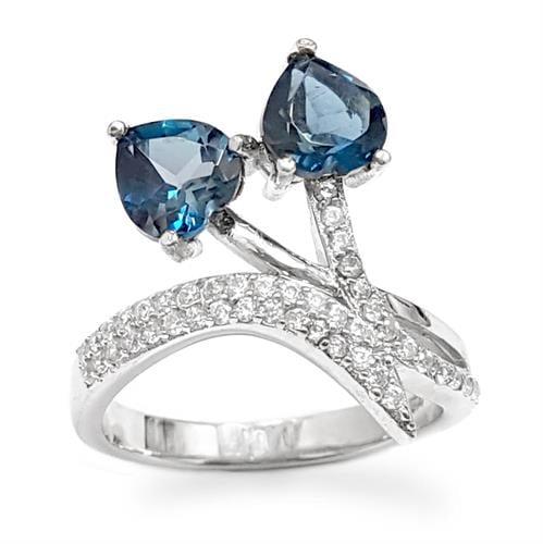 טבעת מכסף משובצת אבני טופז כחולה וזרקונים RG1566 | תכשיטי כסף 925 | טבעות כסף