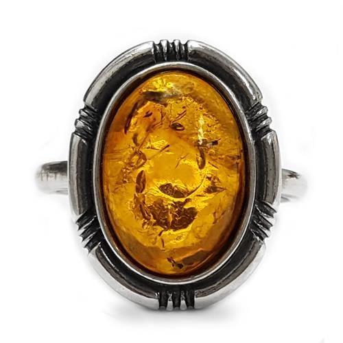 טבעת מכסף משובצת ענבר RG5918 | תכשיטי כסף 925 | טבעות כסף