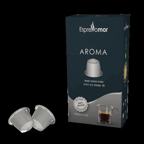 100 קפסולות אספרסו מור AROMA תואם נספרסו - חוזק 6