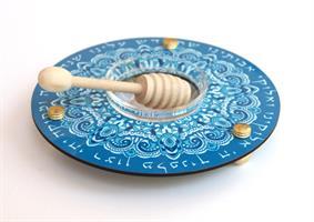 כלי לדבש ותפוחים מנדלה כחול Dvash_06