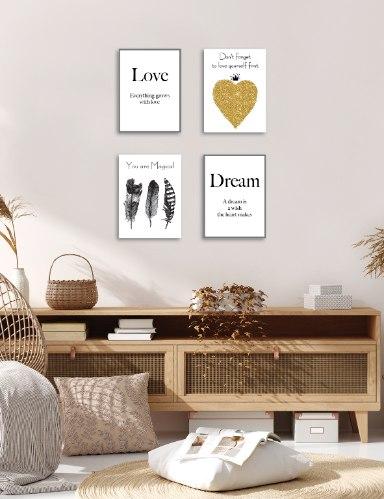 רביעיית תמונות השראה לב זהב, אהבה, חלום ונוצות ש/ל דגם 8