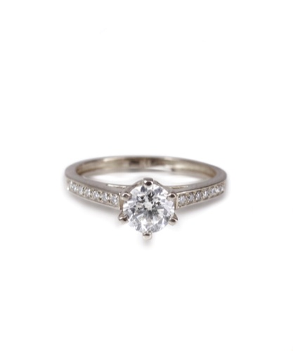 טבעת יהלומים קלסית | טבעת אירוסין | זהב לבן | 0.60 קראט