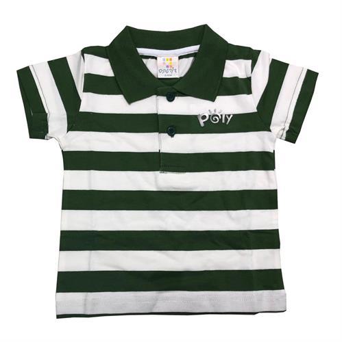 חולצת פולו פסים דקים ירוק זית-לבן