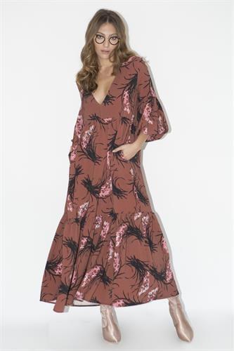 שמלת רייצל פרחוני חום