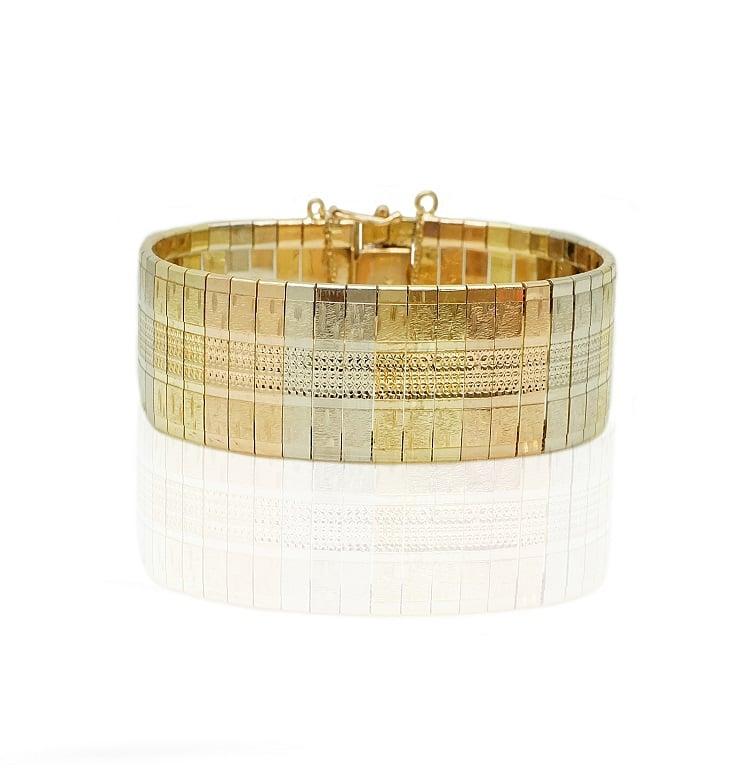 צמיד קליאופטרה זהב שלושה צבעים יפהפייה , עשיר ומלא נוכחות לאישה