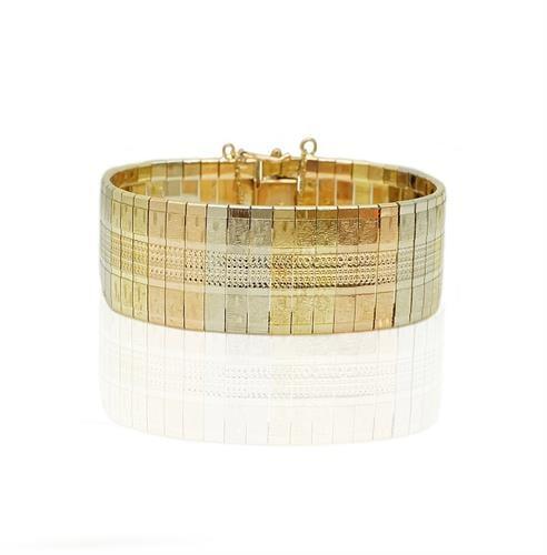 צמיד זהב שלוש צבעים יפהפייה , עשיר ומלא נוכחות לאישה