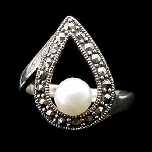 טבעת כסף משובצת מרקזטים ופנינה לבנה RG1471 | תכשיטי כסף 925 | טבעות כסף