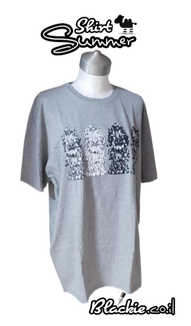 חולצה לקיץ מקומית הדפס גראפי נעול צבע אפור