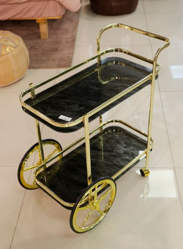 עגלת תה נירוסטה בצבע זהב מדפי זכוכית שיש שחור  מידות: 72X38X74