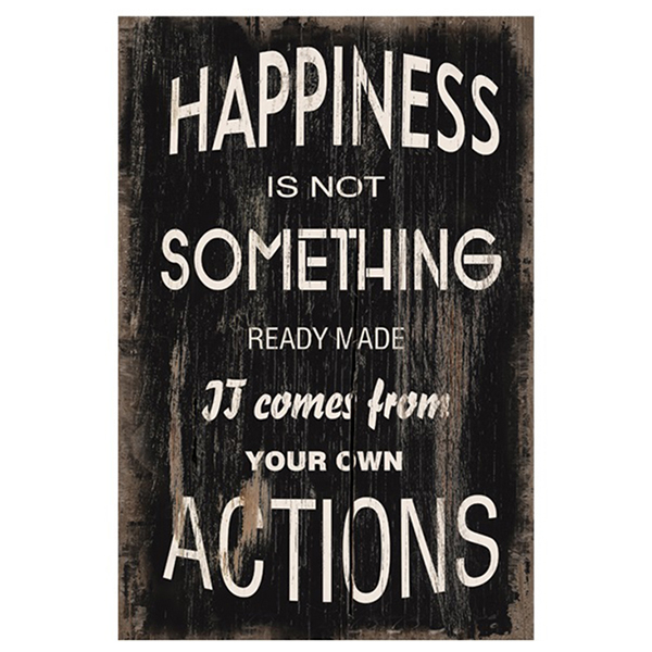 שלט עץ happiness