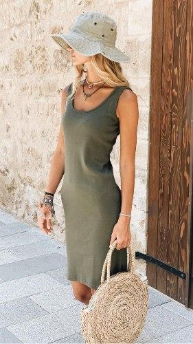 שמלת גופיה זית