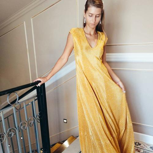 שמלת DANA צהוב פליסה