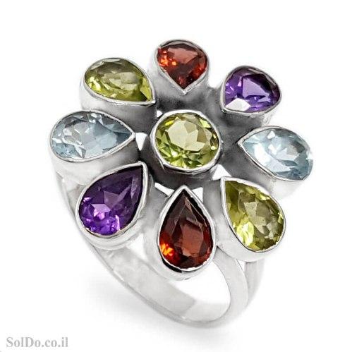 טבעת מכסף משובצת אבני חן RG6274   תכשיטי כסף 925   טבעות כסף