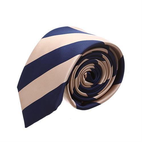 עניבה פסים כחול בז'