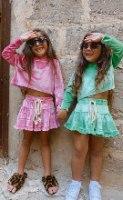 חליפת חצאית קפוצון  קטיפה ירוק (2-16)