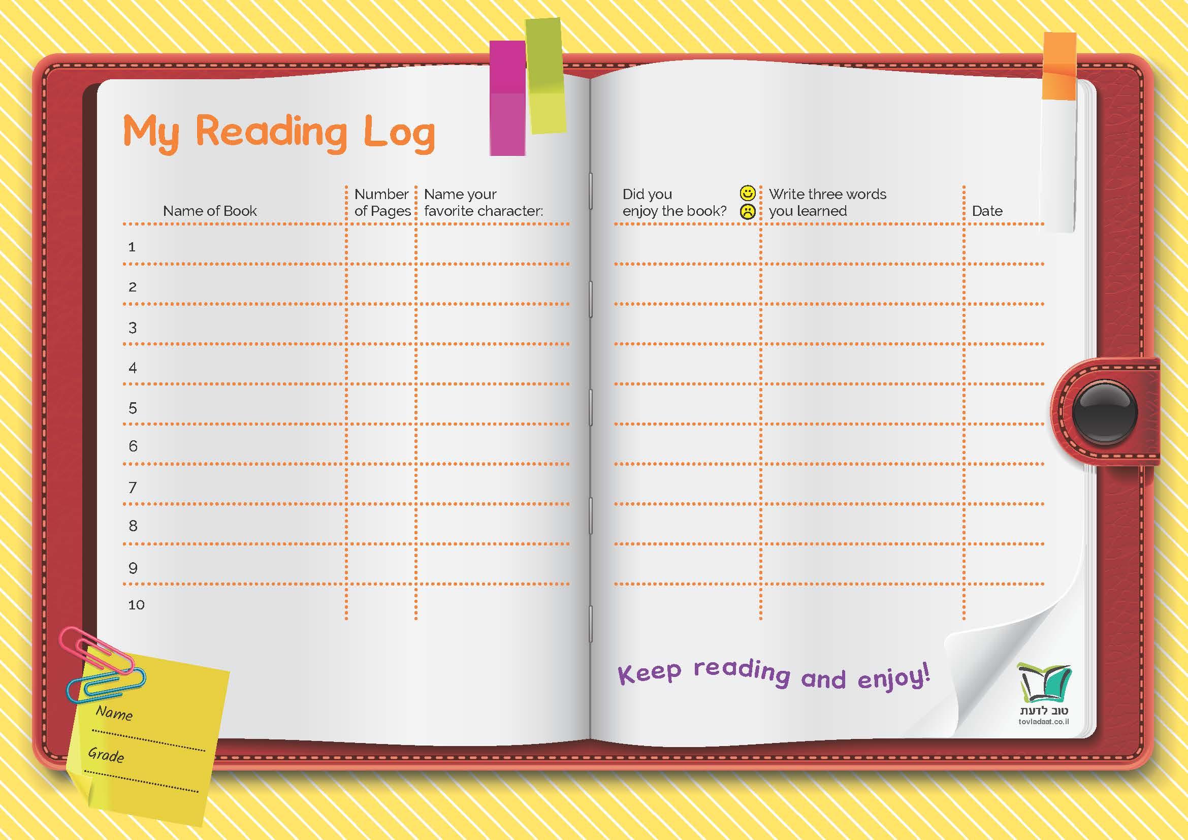 יומן מעקב קריאה באנגלית | Reading Log