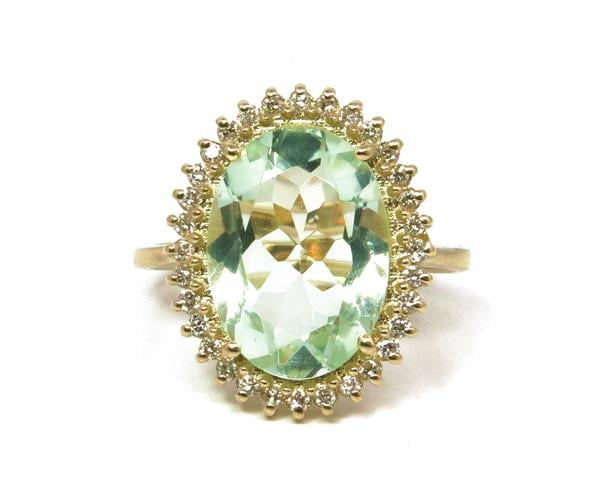 טבעת זהב 14K משובצת אבן אמטיסט ירוקה ויהלומים 0.30 קראט