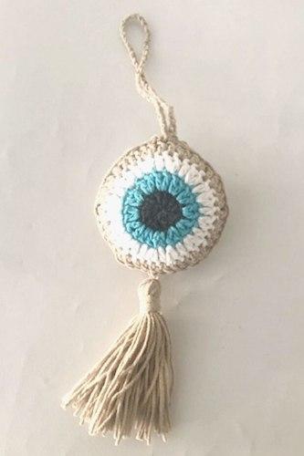 מתלה עין כחולה סרוגה בגוונים של כחול עין וצבע פשתן