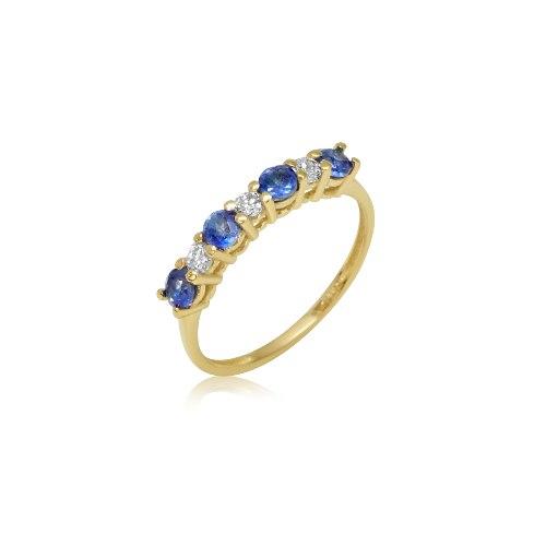 טבעת 7 אבנים זהב יהלומים ספיר