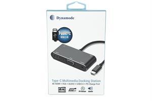 מתאם Type C תחנת עגינה עם חיבורים, HDMI , VGA , AUDIO , USB , Type C