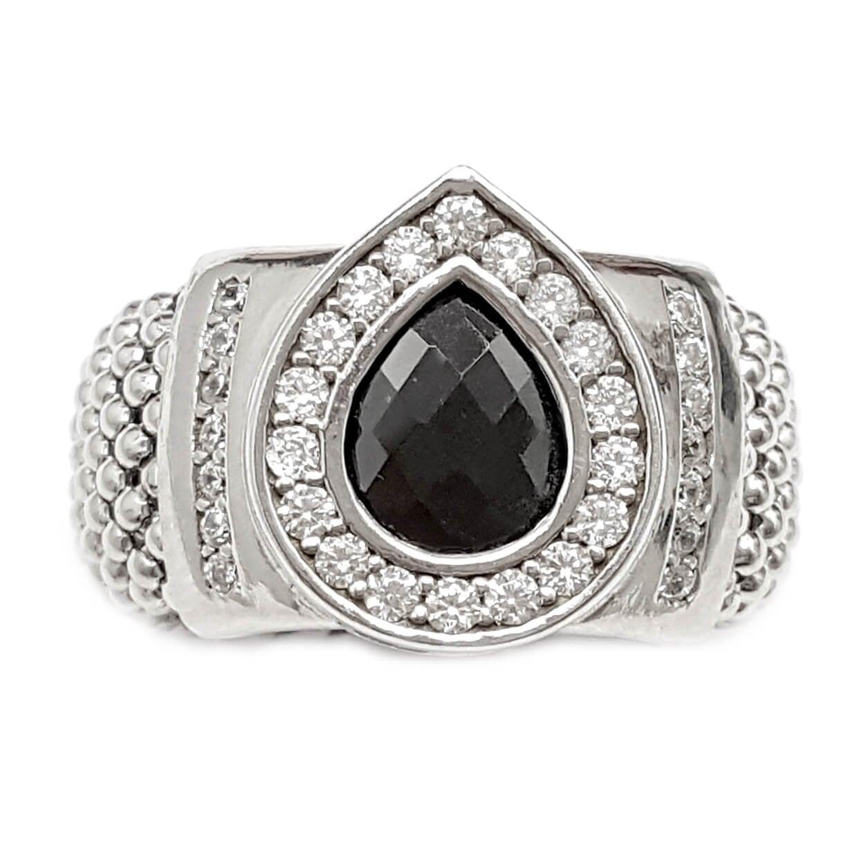 טבעת כסף גמישה משובצת אבן קריסטל שחורה בצורת טיפה ואבני זרקון  RG8603