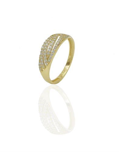 טבעת שורות זרקונים בזהב 14 קארט