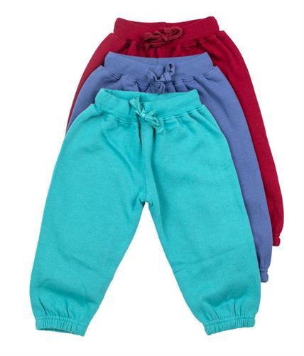 שלישיית מכנסי פוטר גומי בורדו-כחול-תכלת