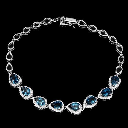 צמיד כסף משובץ אבני טופז כחולה וזרקונים Z5048 | תכשיטי כסף 925 | צמידי כסף