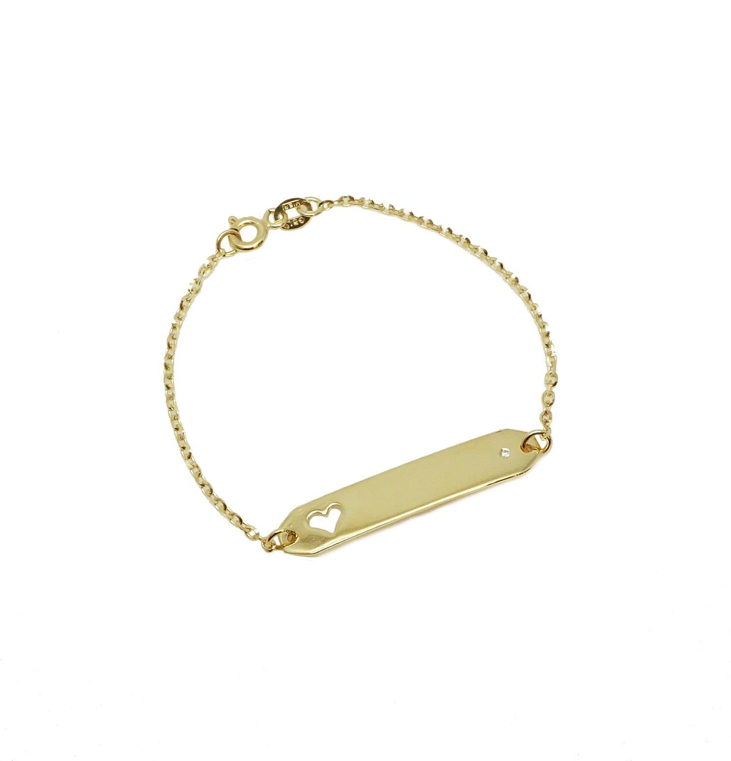צמיד זהב גדול חריטה עם יהלום