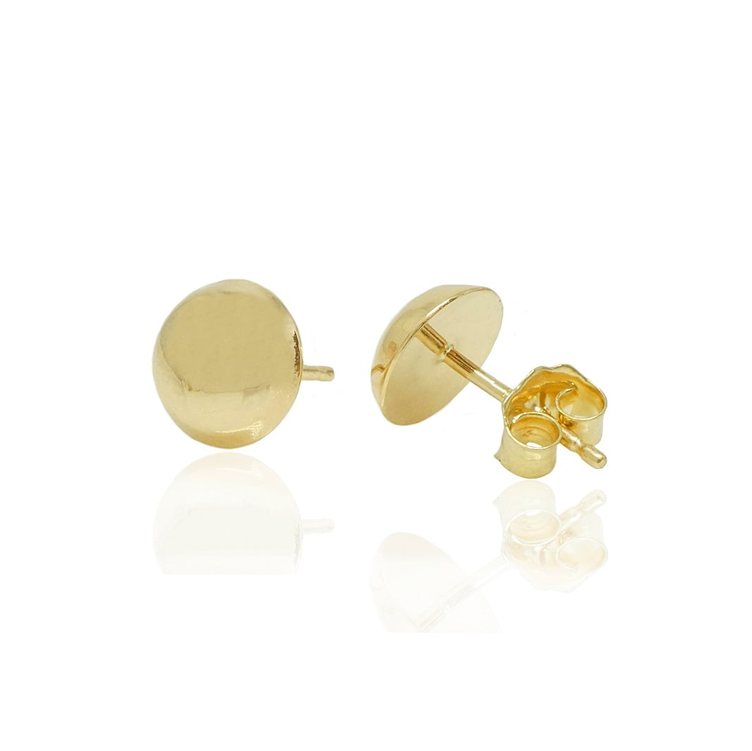 עגילי זהב צמודים חלקים בעבודת יד