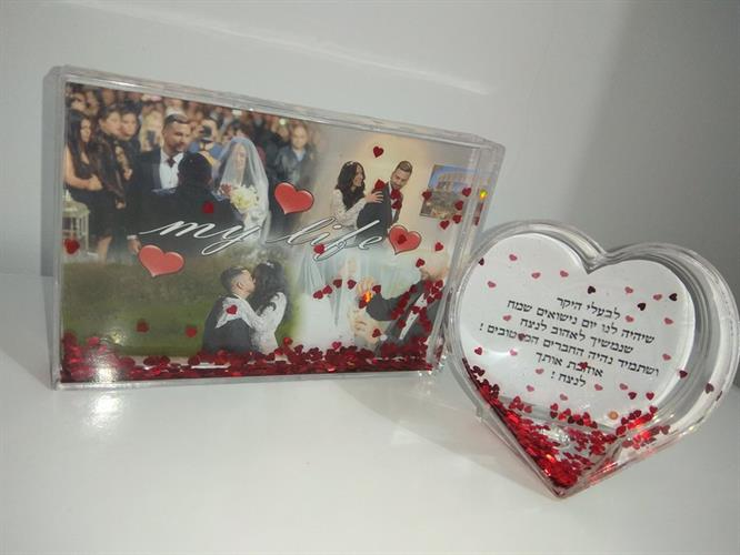 בלוק שלג+לב נצנצים (לבבות אדומים)