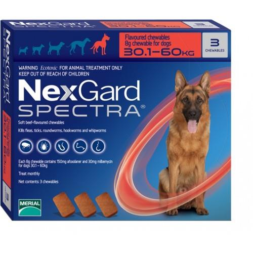 "NexGard Spectra חבילת 3 כדורים בטעם עוף נגד פרעושים וקרציות לכלבים במשקל 30-60 ק""ג"