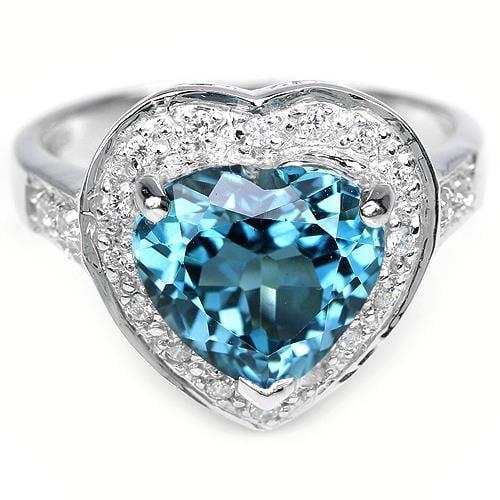 טבעת כסף לב משובצת טופז כחול וזרקונים RG9761 | תכשיטי כסף 925 | טבעות כסף