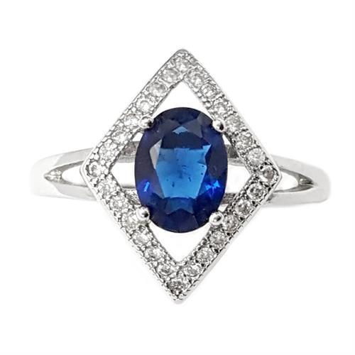 טבעת כסף משובצת אבן זרקון כחולה וזרקונים קטנים RG5646 | תכשיטי כסף 925 | טבעות כסף